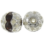 Beads bizhuteri bronzi, Tunxh, Round, Ngjyra argjend praruar, me diamant i rremë & i uritur, asnjë, , nikel çojë \x26amp; kadmium falas, 8mm, : 1mm, 100PC/Qese,  Qese