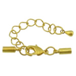 Karavidhe tunxh Claw Cord kapje, Shape Tjera, ngjyrë ari praruar, asnjë, asnjë, , nikel çojë \x26amp; kadmium falas, 30mm, 8x3mm, : 2mm, 200Sets/Shumë,  Shumë