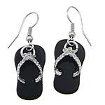 Një palë vathë gur i çmuar, Black agat, with Tunxh, Këpucët, ngjyrë platin praruar, asnjë, 40mm, 12x22x2mm, 20Çiftet/Shumë,  Shumë