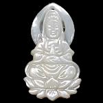 Pendants Natyrore White Shell, Guanyin, Gdhendur, asnjë, asnjë, 23.50x30x4mm, : 1mm, 20PC/Shumë,  Shumë
