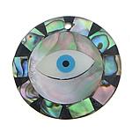 Pendants Natyrore predhë guaskë, Shell Guaskë, with Black Shell & White Shell & Rrëshirë, Round Flat, asnjë, asnjë, asnjë, 30x30x3mm, : 3mm, 20PC/Shumë,  Shumë