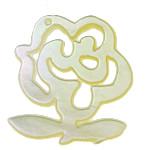 Pendants Natyrore White Shell, Lule, asnjë, asnjë, asnjë, 23x25x1mm, : 1.5mm, 30PC/Shumë,  Shumë