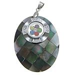 Pendants Natyrore Zi Shell, Black Shell, with Tunxh, Oval Flat, ngjyrë platin praruar, me diamant i rremë, asnjë, 35x45x9mm, : 4x6mm, 10PC/Shumë,  Shumë