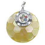 Pendants Natyrore Shell Verdha, with Tunxh, Round Flat, ngjyrë platin praruar, me diamant i rremë, asnjë, 40x40x9mm, : 3x5mm, 10PC/Shumë,  Shumë