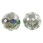 Beads Hollow tunxh, Round, Ngjyra argjend praruar, me diamant i rremë & i uritur, asnjë, , nikel çojë \x26amp; kadmium falas, 10mm, : 1mm, 100PC/Qese,  Qese