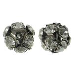 Beads bizhuteri bronzi, Tunxh, Round, plumbit ngjyrë të zezë praruar, me diamant i rremë & i uritur, asnjë, , nikel çojë \x26amp; kadmium falas, 11mm, : 1mm, 10PC/Qese,  Qese