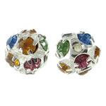 Beads bizhuteri bronzi, Tunxh, Round, Ngjyra argjend praruar, me një diamant i rremë klasën & i uritur, asnjë, , nikel çojë \x26amp; kadmium falas, 10mm, : 1mm, 10PC/Qese,  Qese
