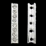 Zink Alloy Spacer Bar, Alloy zink, Drejtkëndësh, Ngjyra argjend praruar, 5-fije floku & me diamant i rremë, asnjë, , nikel çojë \x26amp; kadmium falas, 6x31x5mm, : 2mm, 10PC/Qese,  Qese