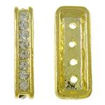 Zink Alloy Spacer Bar, Alloy zink, Drejtkëndësh, ngjyrë ari praruar, 4-fije floku & me diamant i rremë, asnjë, , nikel çojë \x26amp; kadmium falas, 9x22x4mm, : 1mm, 10PC/Qese,  Qese