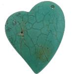 Varëse Bruz, Bruz Natyrore, Zemër, i lyer, asnjë, e gjelbër, 37x46x7.50mm, : 2.5mm, 40PC/Shumë,  Shumë
