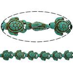 Bruz Beads, Bruz sintetike, Breshkë, i lyer, asnjë, e gjelbër, 19x15x7mm, : 1mm, :16Inç, 20Fillesat/Shumë, 24pcs/strand,  Shumë
