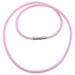 Cord gjerdan Moda, Silicone, with Tunxh, Shape Tjera, asnjë, rozë, 3mm, 17x4mm, :18Inç, 100Fillesat/Shumë,  Shumë