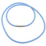 Cord gjerdan Moda, Silicone, with Tunxh, Shape Tjera, asnjë, blu, 3mm, 17x4mm, :18Inç, 100Fillesat/Shumë,  Shumë