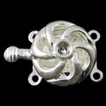 Box Gjetjet bronzi shtrëngim duarsh, Tunxh, Round Flat, Ngjyra argjend praruar, 2-fije floku & i uritur, asnjë, , nikel çojë \x26amp; kadmium falas, 14x20x7mm, : 1-1.5mm, 10PC/Qese,  Qese