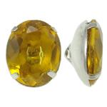Beads bizhuteri bronzi, Tunxh, with Xham, Oval, ngjyrë platin praruar, asnjë, asnjë, , nikel çojë \x26amp; kadmium falas, 10.50x12.50x7mm, : 1x2mm, 10PC/Qese,  Qese
