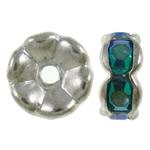 Beads Spacer tunxh, Petull e ëmbël në formë gjevreku, Ngjyra argjend praruar, me diamant i rremë, asnjë, , nikel çojë \x26amp; kadmium falas, 7x3.5mm, : 1.5mm, 100PC/Qese,  Qese