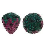 Diamant i rremë balta Beads hapë, Argjilë, Lulushtrydhe, asnjë, me diamant i rremë & gjysmë-shpuar, asnjë, 15x19mm, : 1mm, 10PC/Qese,  Qese