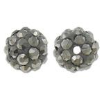 Diamant i rremë balta Beads hapë, Argjilë, Round, asnjë, me diamant i rremë, gri, 10mm, : 1.5mm, 10PC/Qese,  Qese