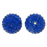 Diamant i rremë balta Beads hapë, Argjilë, Round, asnjë, me diamant i rremë, blu, 14mm, : 1.5mm, 10PC/Qese,  Qese