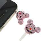 Pluhuri kufje Jack Cap priza, Argjilë, with Plastik, Mickey Mouse, asnjë, me diamant i rremë, rozë, 22x28x14mm, 10PC/Qese,  Qese