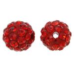 Diamant i rremë balta Beads hapë, Argjilë, Round, asnjë, me diamant i rremë, i kuq, 10mm, : 1.5mm, 10PC/Qese,  Qese