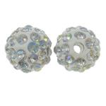 Diamant i rremë balta Beads hapë, Argjilë, Round, Ngjyra AB kromuar, me diamant i rremë, e bardhë, 10mm, : 1.5mm, 10PC/Qese,  Qese