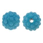 Diamant i rremë balta Beads hapë, Argjilë, Round, asnjë, me rrëshirë diamant i rremë, Skyblue, 10mm, : 1.5mm, 10PC/Qese,  Qese