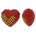 Diamant i rremë balta Beads hapë, Argjilë, Zemër, asnjë, me diamant i rremë & gjysmë-shpuar, dy-ton, 17x15x11mm, : 1mm, 10PC/Qese,  Qese