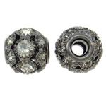 Beads bizhuteri bronzi, Tunxh, Daulle, plumbit ngjyrë të zezë praruar, me diamant i rremë & i uritur, asnjë, , nikel çojë \x26amp; kadmium falas, 12x11mm, : 3.5mm, 10PC/Qese,  Qese