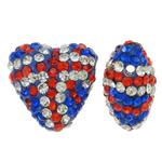 Diamant i rremë balta Beads hapë, Argjilë, Zemër, asnjë, me diamant i rremë, asnjë, 17x16x10mm, : 1mm, 10PC/Qese,  Qese
