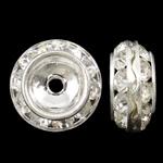 Ndarësit diamant i rremë, Tunxh, Rondelle, Ngjyra argjend praruar, me diamant i rremë, asnjë, , nikel çojë \x26amp; kadmium falas, 13x6mm, : 1.5mm, 10PC/Qese,  Qese