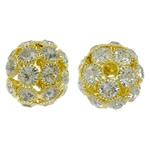 Beads bizhuteri Diamant i rremë, Tunxh, Daulle, ngjyrë ari praruar, me diamant i rremë & i uritur, asnjë, , nikel çojë \x26amp; kadmium falas, 24x23mm, : 4mm, 2PC/Qese,  Qese