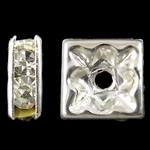 Ndarësit diamant i rremë, Tunxh, Katror, Ngjyra argjend praruar, me diamant i rremë, asnjë, , nikel çojë \x26amp; kadmium falas, 8x3mm, : 1.5mm, 10PC/Qese,  Qese
