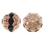 Beads bizhuteri bronzi, Tunxh, Round, ngjyra rose ari praruar, me diamant i rremë & i uritur, asnjë, , nikel çojë \x26amp; kadmium falas, 10mm, : 1.5mm, 100PC/Qese,  Qese