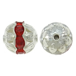 Beads bizhuteri bronzi, Tunxh, Round, Ngjyra argjend praruar, me diamant i rremë & i uritur, asnjë, , nikel çojë \x26amp; kadmium falas, 10mm, : 1.5mm, 100PC/Qese,  Qese