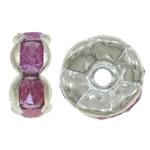 Ndarësit diamant i rremë, Tunxh, Lule, Ngjyra argjend praruar, me diamant i rremë, asnjë, , nikel çojë \x26amp; kadmium falas, 7x3mm, : 1.5mm, 100PC/Qese,  Qese