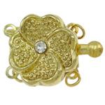 Kutia tunxh kapje, Lule, ngjyrë ari praruar, me diamant i rremë & 2-fije floku, asnjë, , nikel çojë \x26amp; kadmium falas, 20x15x6mm, : 2mm, 10PC/Qese,  Qese