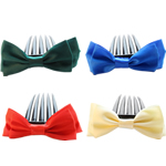Decorative Hair Combs, Bowknot, with satin ribbon & plastic, more colors for choice, 9.5x4cm, 8.5cm, Approx 200PCs/Lot, Sold by Lot