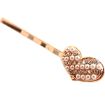 Hair Slide, Heart, zinc alloy with glass pearl & rhinestone, gold color plated, nickel & cadmium free, 5cm, Sold by PC