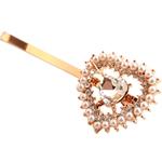 Slide flokët, Alloy zink, with Glass Pearl, Zemër, ngjyrë ari praruar, me diamant i rremë, asnjë, , nikel çojë \x26amp; kadmium falas, 5cm, 17PC/Shumë,  Shumë