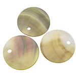 Pendants Natyrore Zi Shell, Black Shell, Round Flat, asnjë, asnjë, asnjë, 25x25x1-2mm, : 2.5mm, 100PC/Shumë,  Shumë