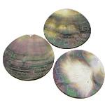Pendants Natyrore Zi Shell, Black Shell, Round Flat, asnjë, asnjë, asnjë, 50x50x1-2mm, : 1.5mm, 30PC/Shumë,  Shumë