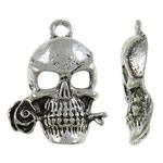 Pendants Skull Alloy zink, Kafkë, Ngjyra antike argjendi praruar, asnjë, asnjë, , nikel çojë \x26amp; kadmium falas, 17x24x4mm, : 2mm, 165PC/KG,  KG