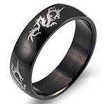 Çeliku Stainless Ring Finger, 316L Stainless Steel, Shape Tjera, Gdhendur, për njeriun, e zezë, 6mm, :9, 3PC/Shumë,  Shumë