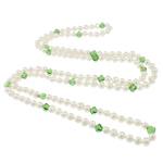 Ujërave të ëmbla Pearl gjerdan Crystal, Pearl kulturuar ujërave të ëmbla, with Kristal, Shape Tjera, natyror, e bardhë, 7-8mm, 8x7mm, :47Inç,  47Inç,