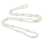 Ujërave të ëmbla Pearl gjerdan Crystal, Pearl kulturuar ujërave të ëmbla, with Kristal, Shape Tjera, natyror, e bardhë, 7-8mm, 8x7mm, :46Inç,  46Inç,