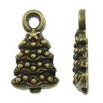 Pendants aliazh zink Krishtlindjeve, Alloy zink, Pema e Krishtlindjeve, Ngjyra antike bronz i praruar, asnjë, asnjë, , nikel çojë \x26amp; kadmium falas, 7x12x2.50mm, : 1.5mm, 2000PC/KG,  KG