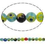 Chevron Glasperlen, rund, handgemacht, gemischte Farben, 8mm, Bohrung:ca. 1mm, Länge:ca. 15 ZollInch, 10SträngeStrang/Menge, verkauft von Menge