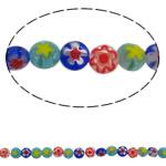 Glass Beads Chevron, Glass Chevron, Round Flat, punuar me dorë, asnjë, ngjyra të përziera, 6x3mm, : 0.8mm, : 15Inç, 10Fillesat/Shumë, approx 65pcs/strands,  Shumë
