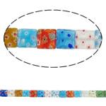 Lampwork Millefiori Fetë Beads, Katror, punuar me dorë, me fetë Millefiori, ngjyra të përziera, 10x4mm, : 1mm, : 15Inç, 10Fillesat/Shumë, approx 40pcs/strands,  Shumë